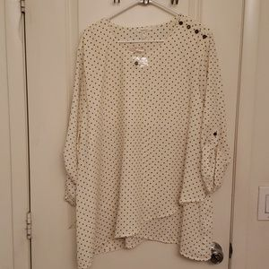 Maurices 3/4 Sleeve Cream Blouse Navy Polka Dots